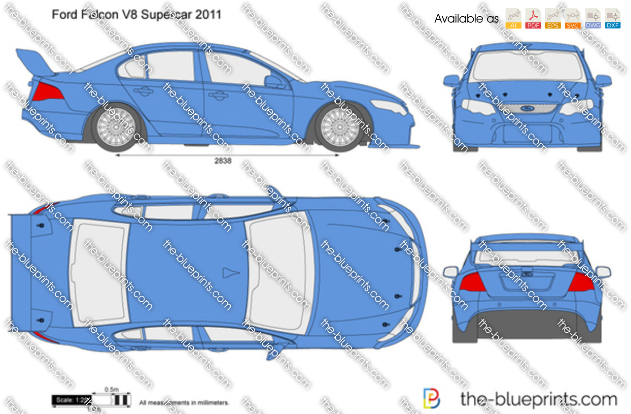 Ford Falcon V8 Supercar Vector Drawing