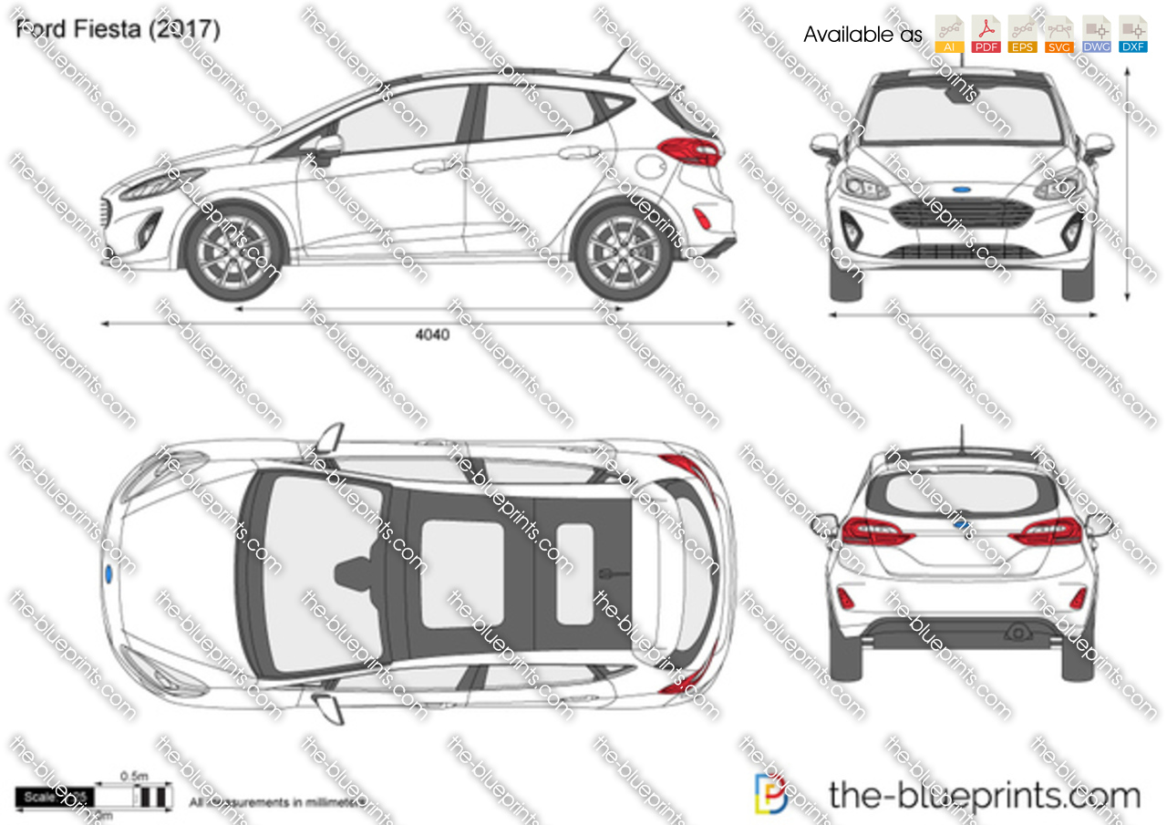 Ford Fiesta Vector Drawing