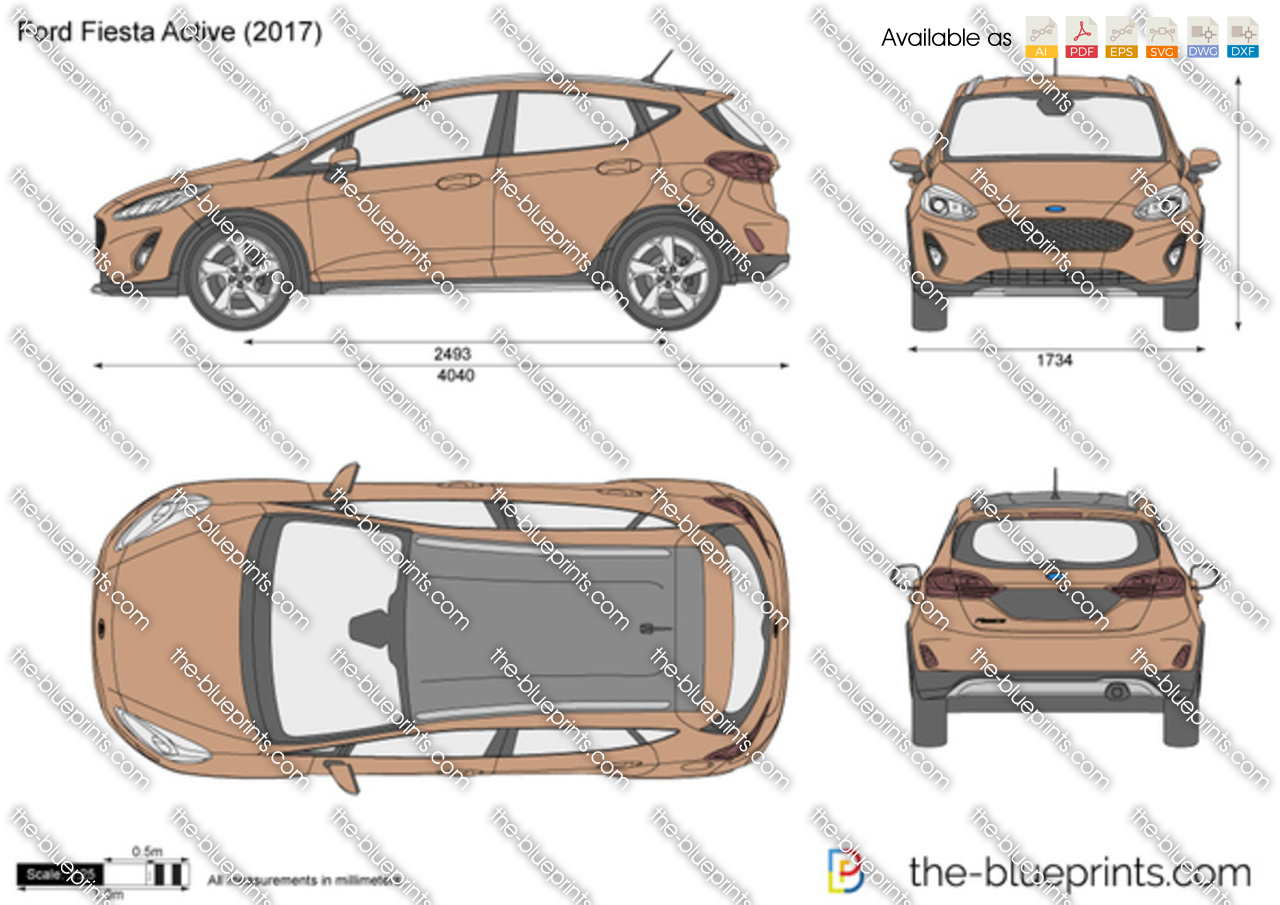 Ford Fiesta Active Vector Drawing