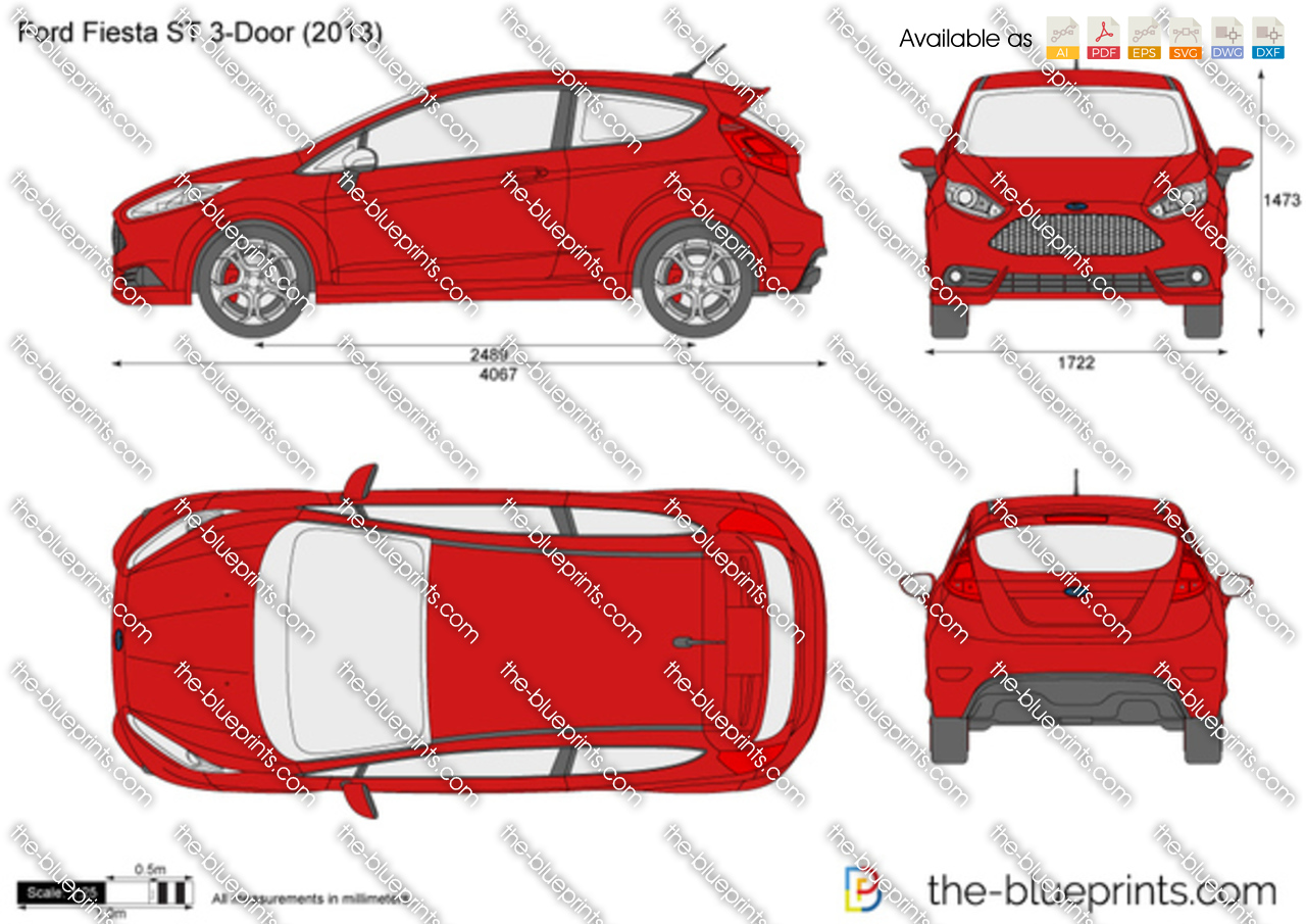 the vector drawing ford fiesta st 3 door. Black Bedroom Furniture Sets. Home Design Ideas