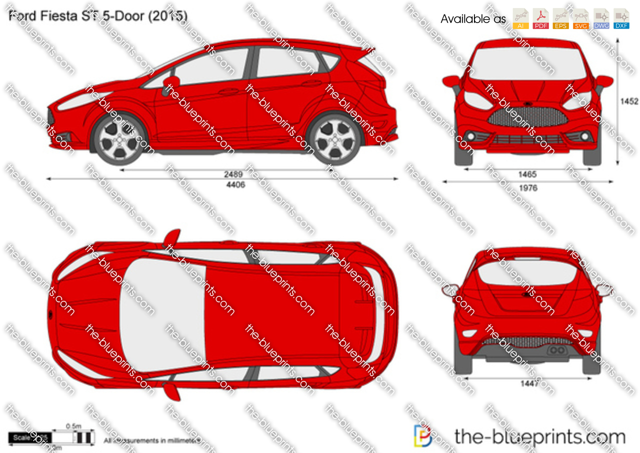 the vector drawing ford fiesta st 5 door. Black Bedroom Furniture Sets. Home Design Ideas