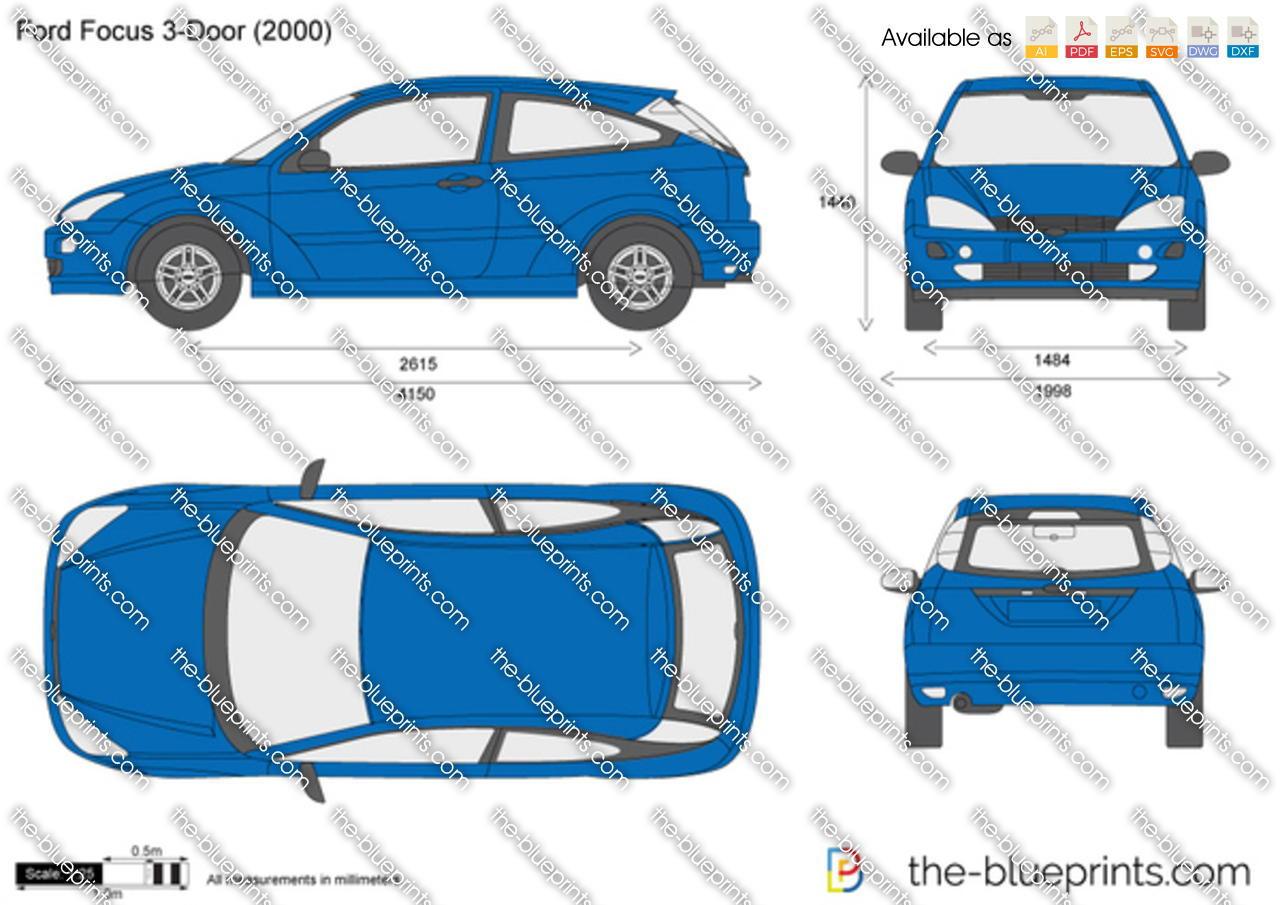 The vector drawing ford focus 3 door for Ford motor credit application pdf