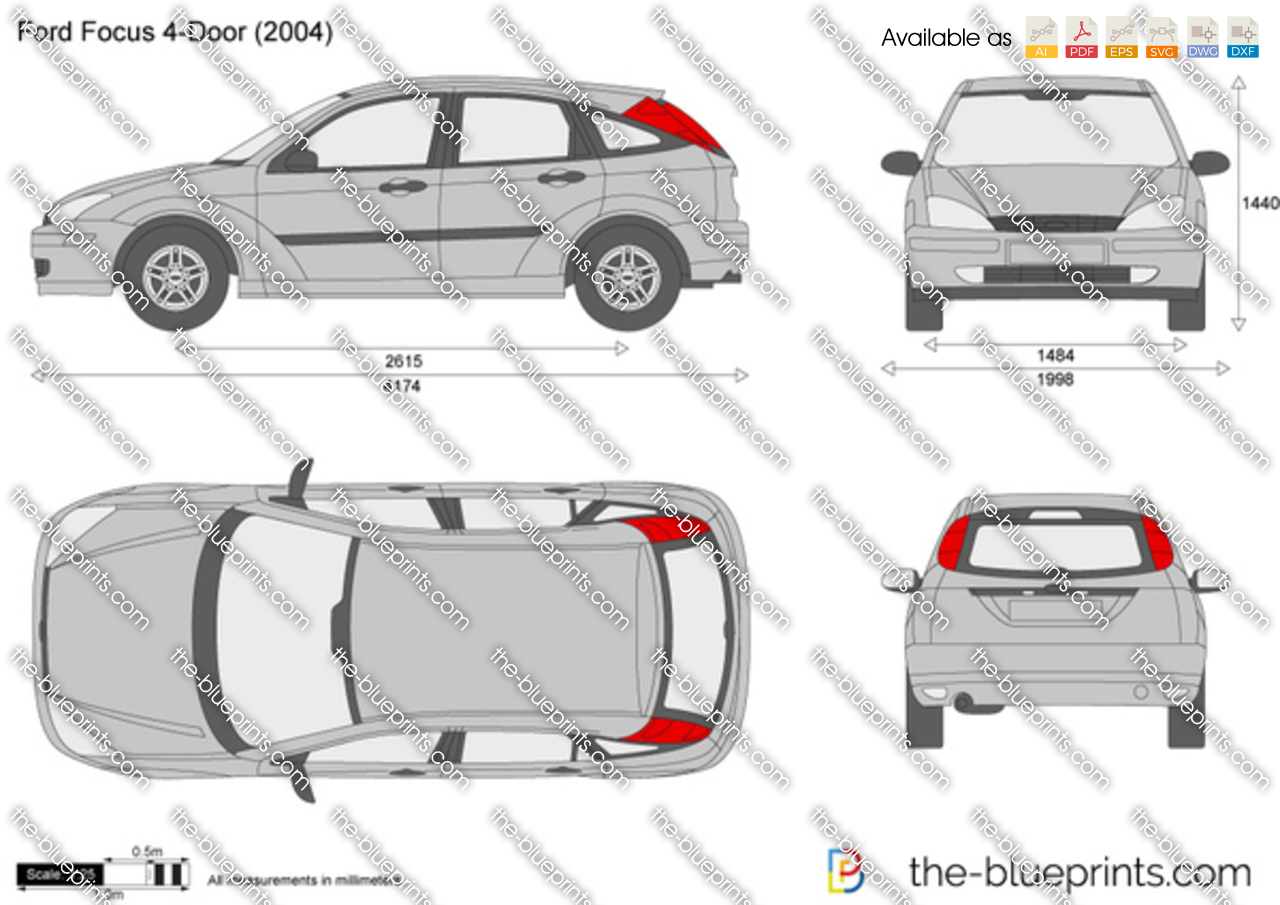 The vector drawing ford focus 4 door for Ford motor credit application pdf