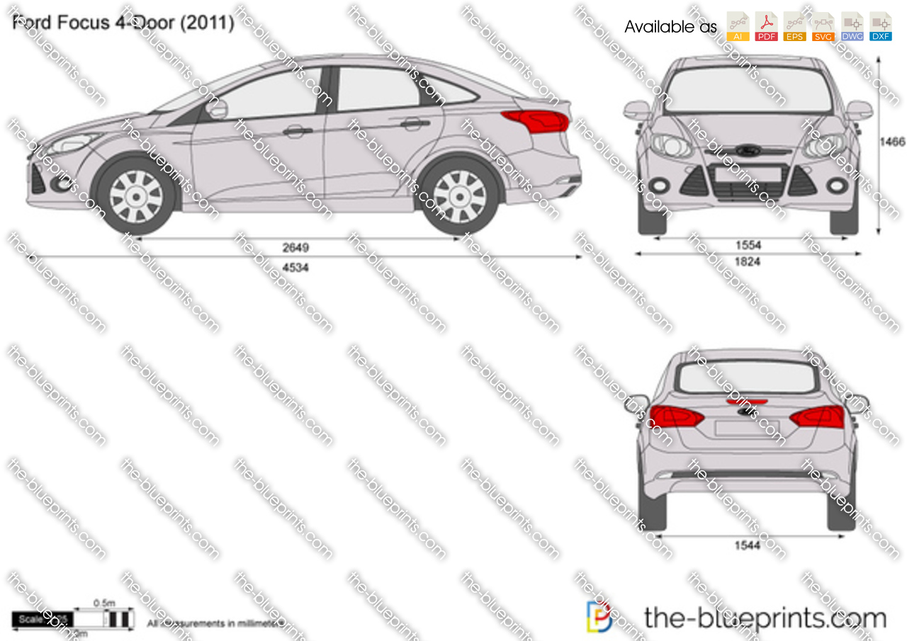 Ford focus 4 door vector drawing for Ford motor credit application pdf