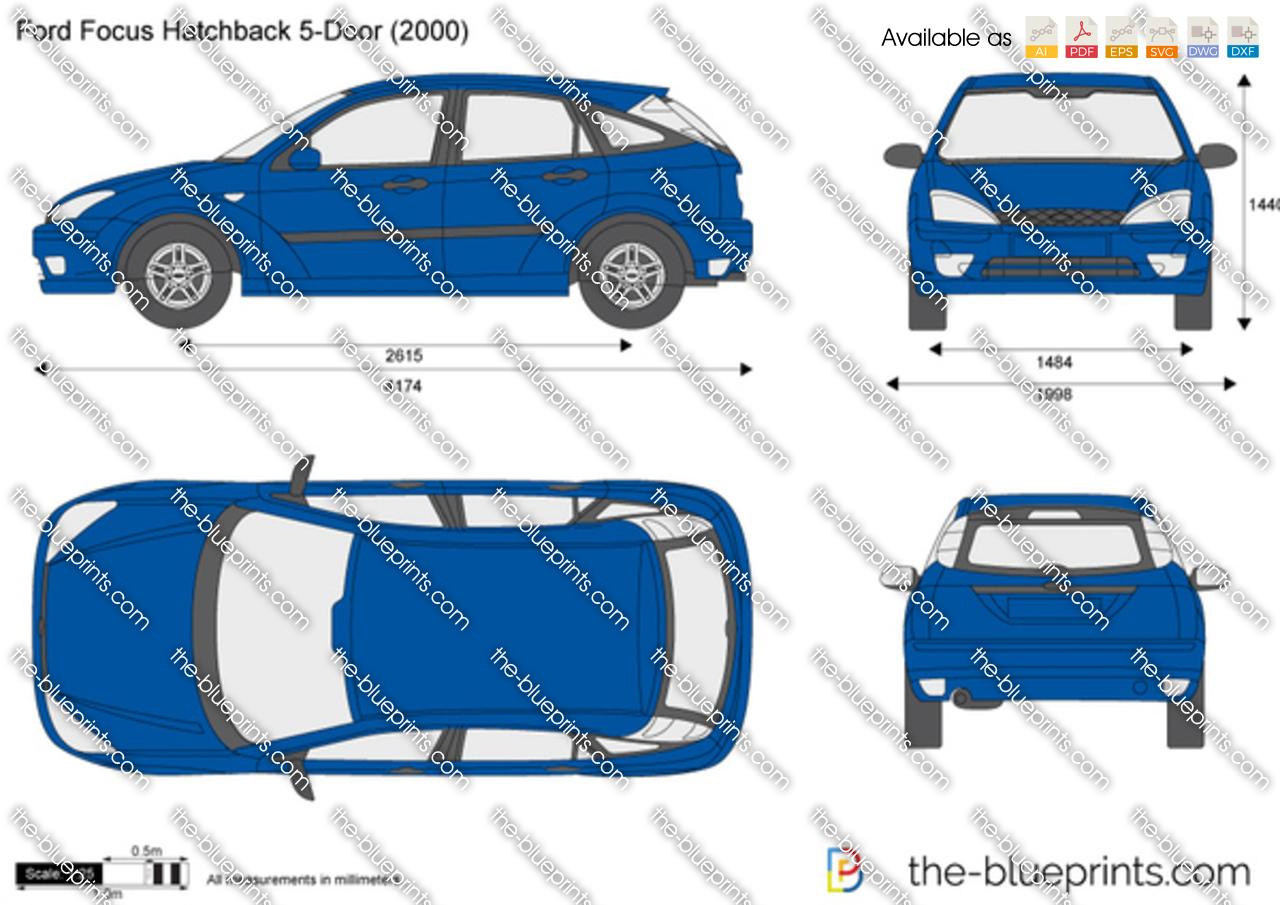 Ford Focus Hatchback 5-Door vector drawing