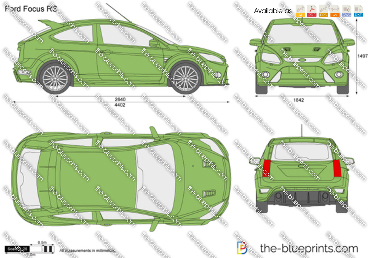 Ford Focus Rs Vector Drawing