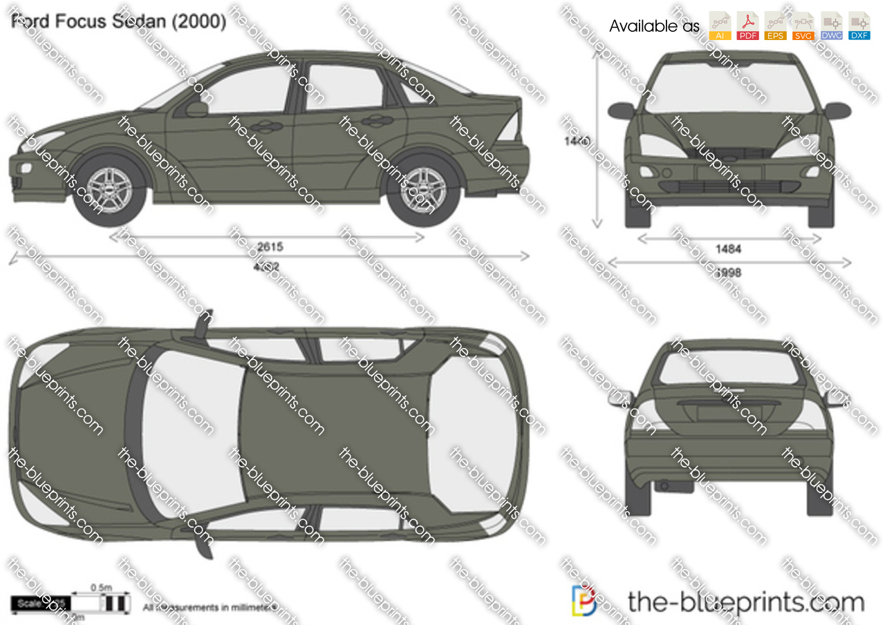 Ford Focus Sedan Vector Drawing