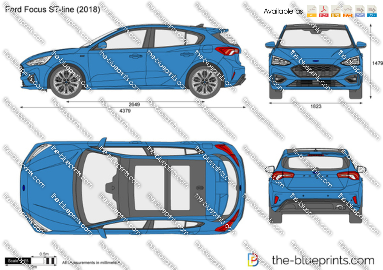 Ford Focus ST-line vector drawing