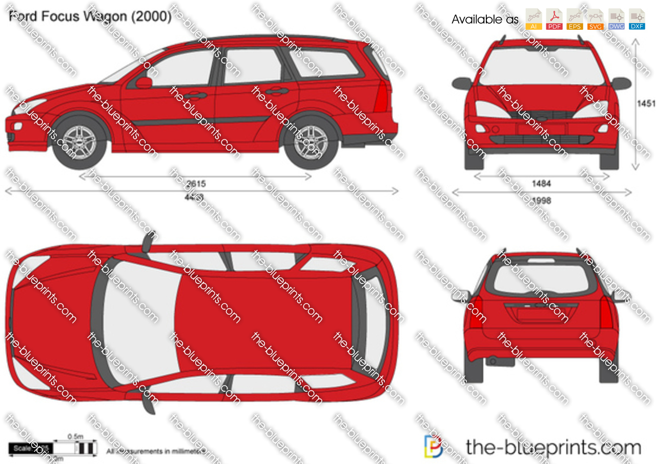 Ford Focus Wagon Vector Drawing