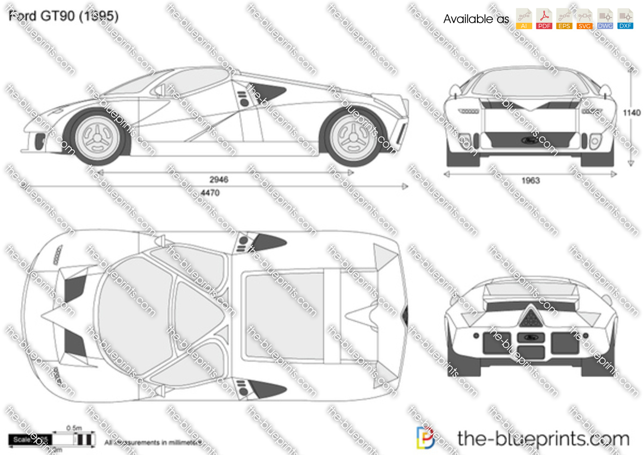 Ford Gt90 Vector Drawing