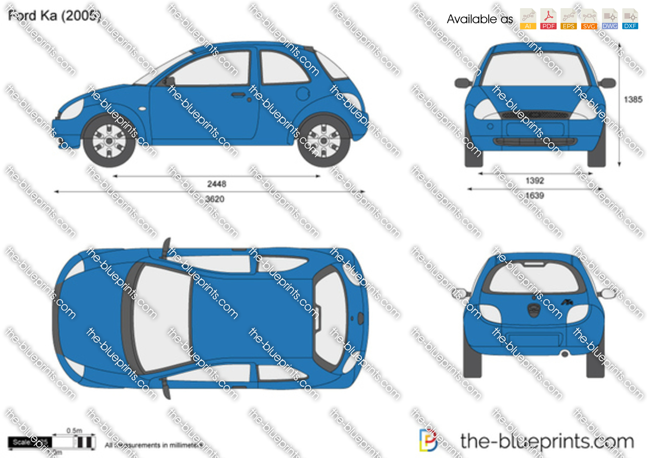 the vector drawing ford ka. Black Bedroom Furniture Sets. Home Design Ideas