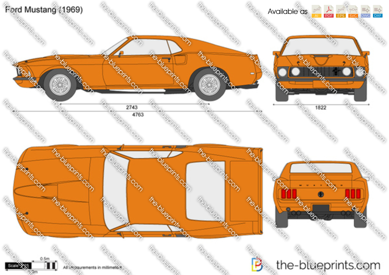 Ford Mustang Vector Drawing