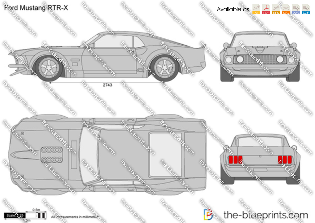 Gallery Of Blueprint.com. Ford Mustang RTR X Vector Drawing
