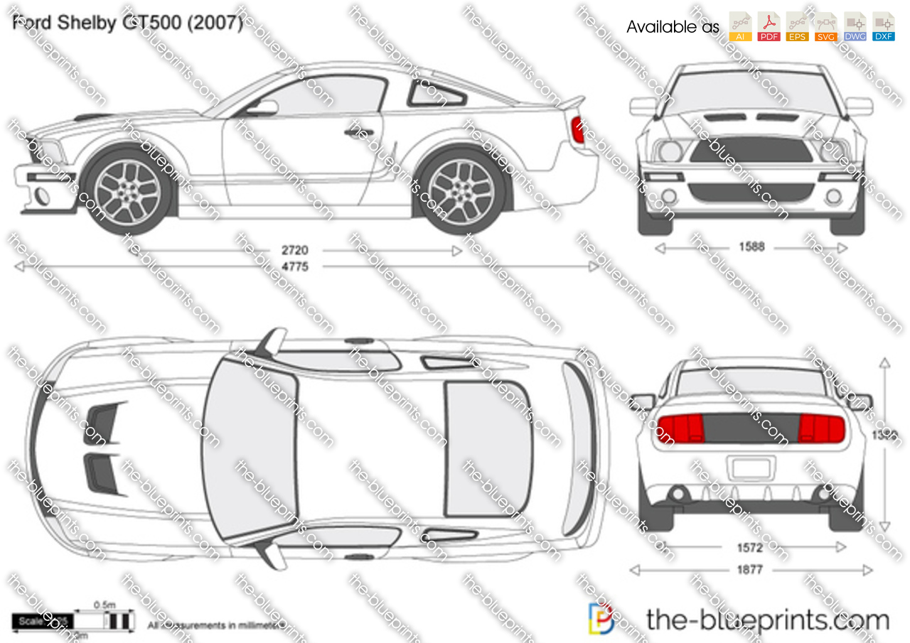 ford mustang shelby gt500 vector drawing