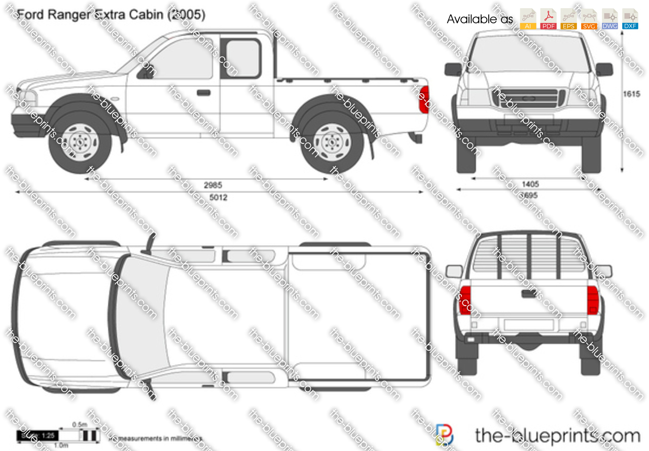 The Vector Drawing Ford Ranger Extra Cabin