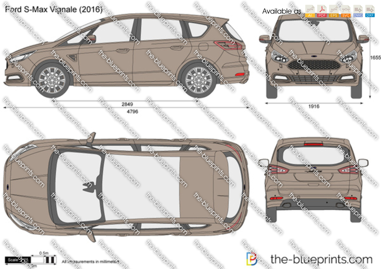 Ford Transit Wagon >> Ford S-Max Vignale vector drawing