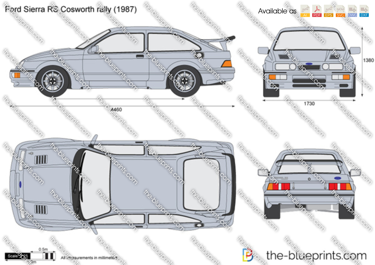 Ford Sierra RS Cosworth rally vector drawing