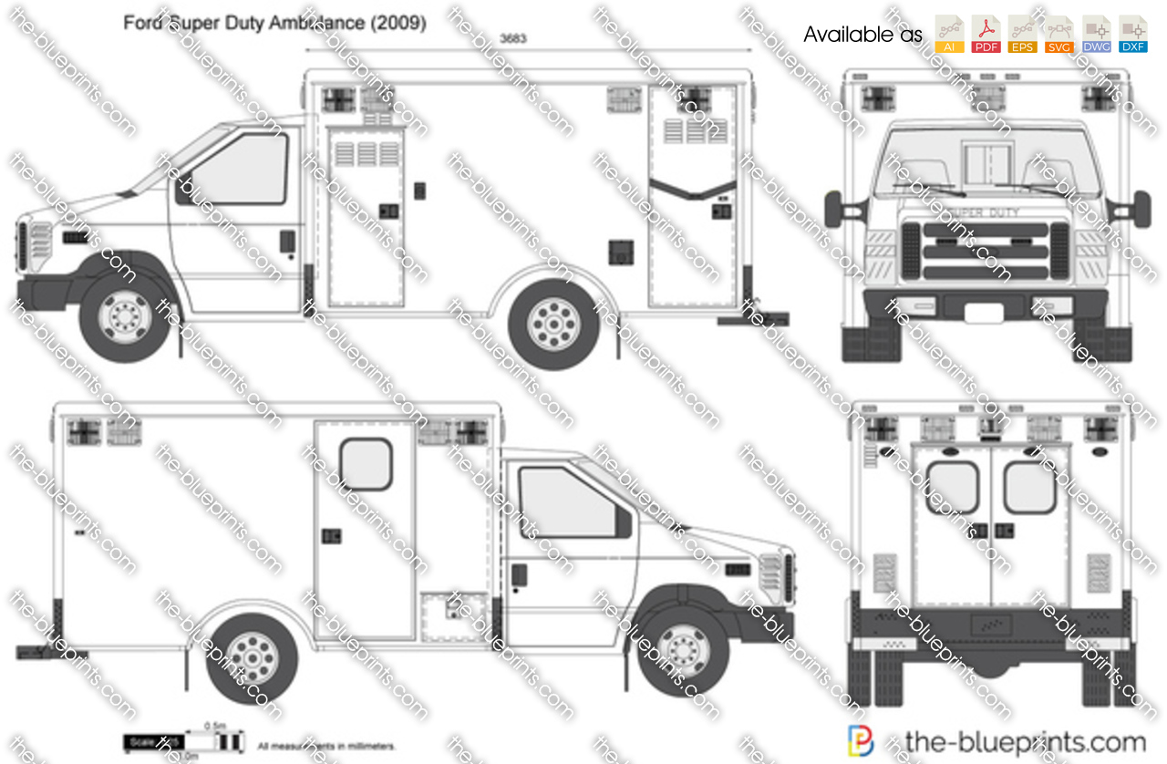 ford super duty ambulance vector drawing