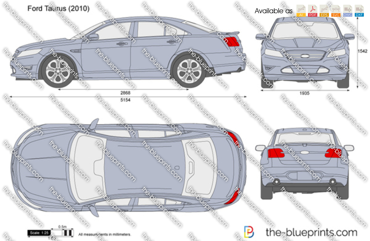 Ford Taurus Vector Drawing