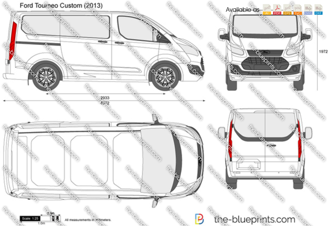 Ford Tourneo Custom Swb Vector Drawing