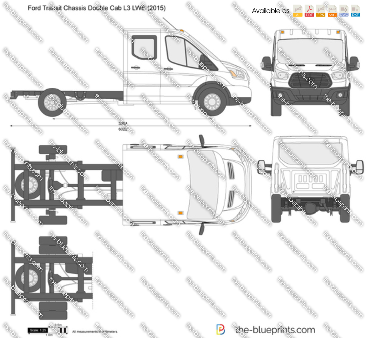 Ford Transit 350 Lwb Specificaties: Ford Transit Chassis Double Cab L3 LWB Vector Drawing