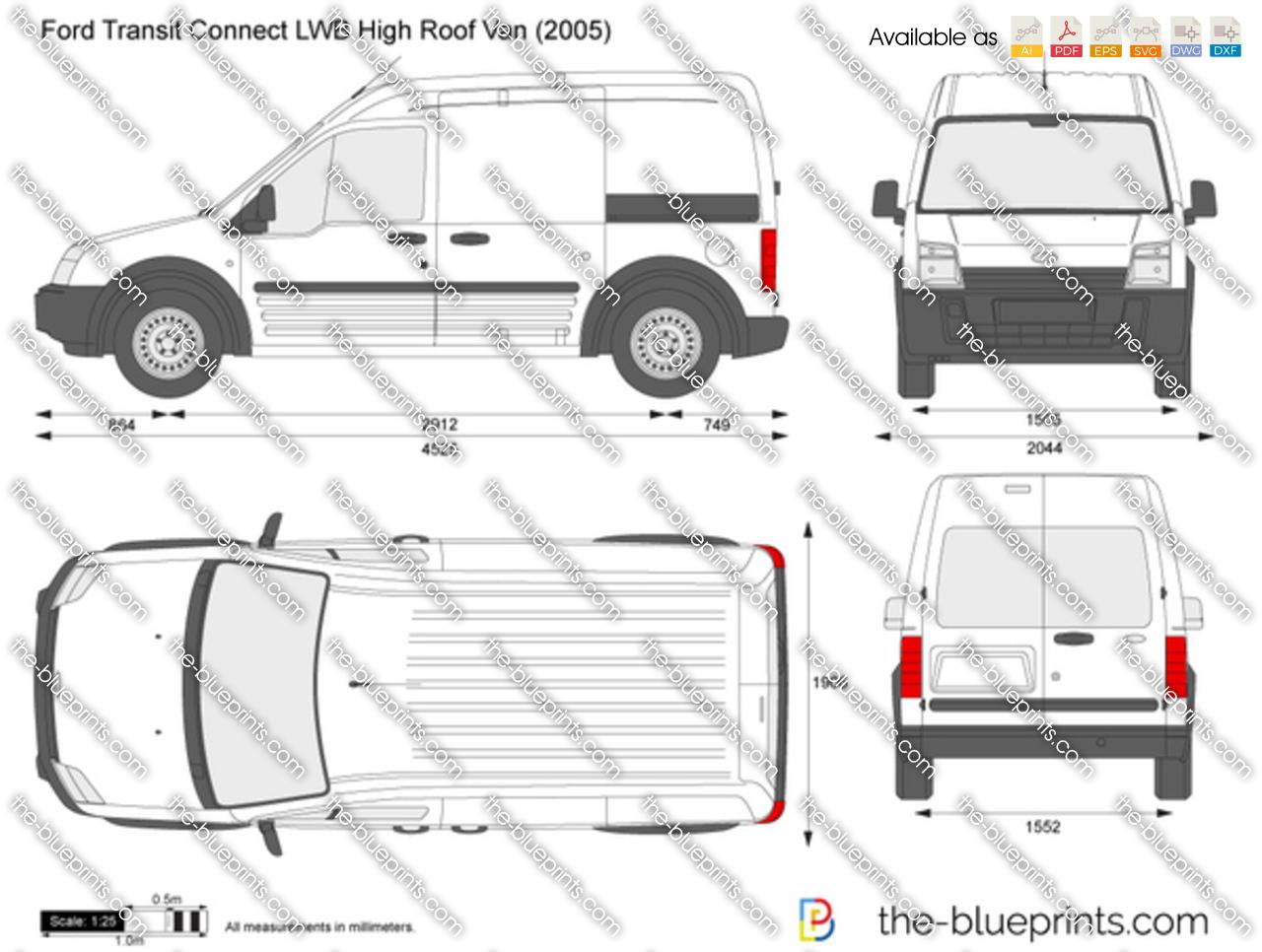 ford transit connect lwb high roof van vector drawing. Black Bedroom Furniture Sets. Home Design Ideas