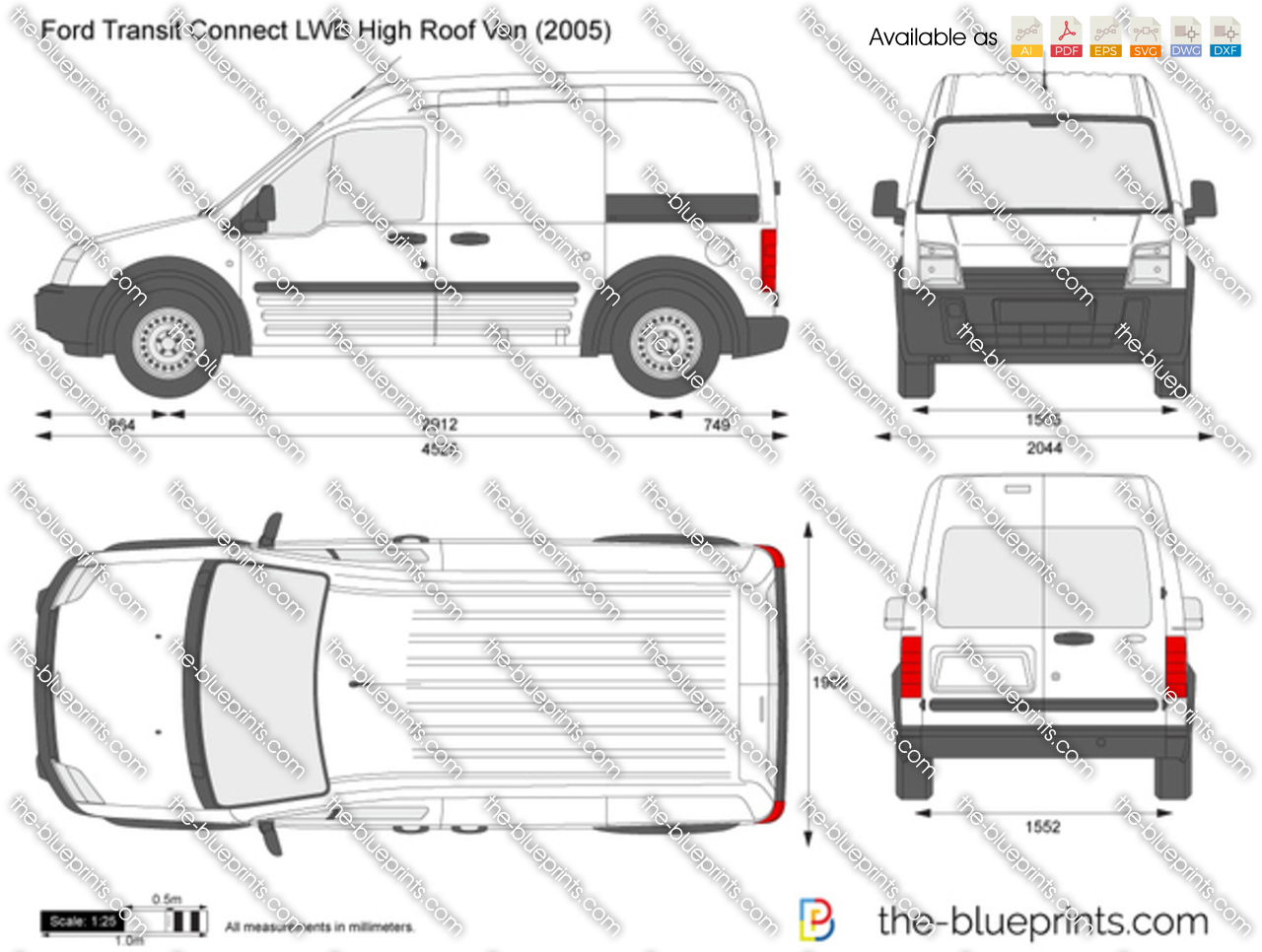 Ford Transit Connect Lwb High Roof Van Vector Drawing