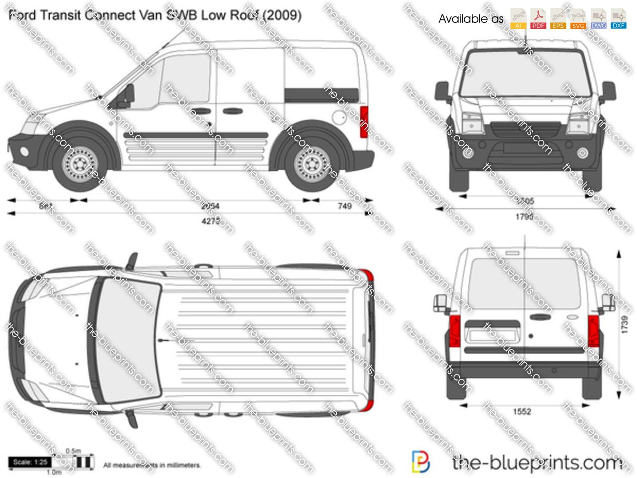 ford transit connect van swb low roof vector drawing