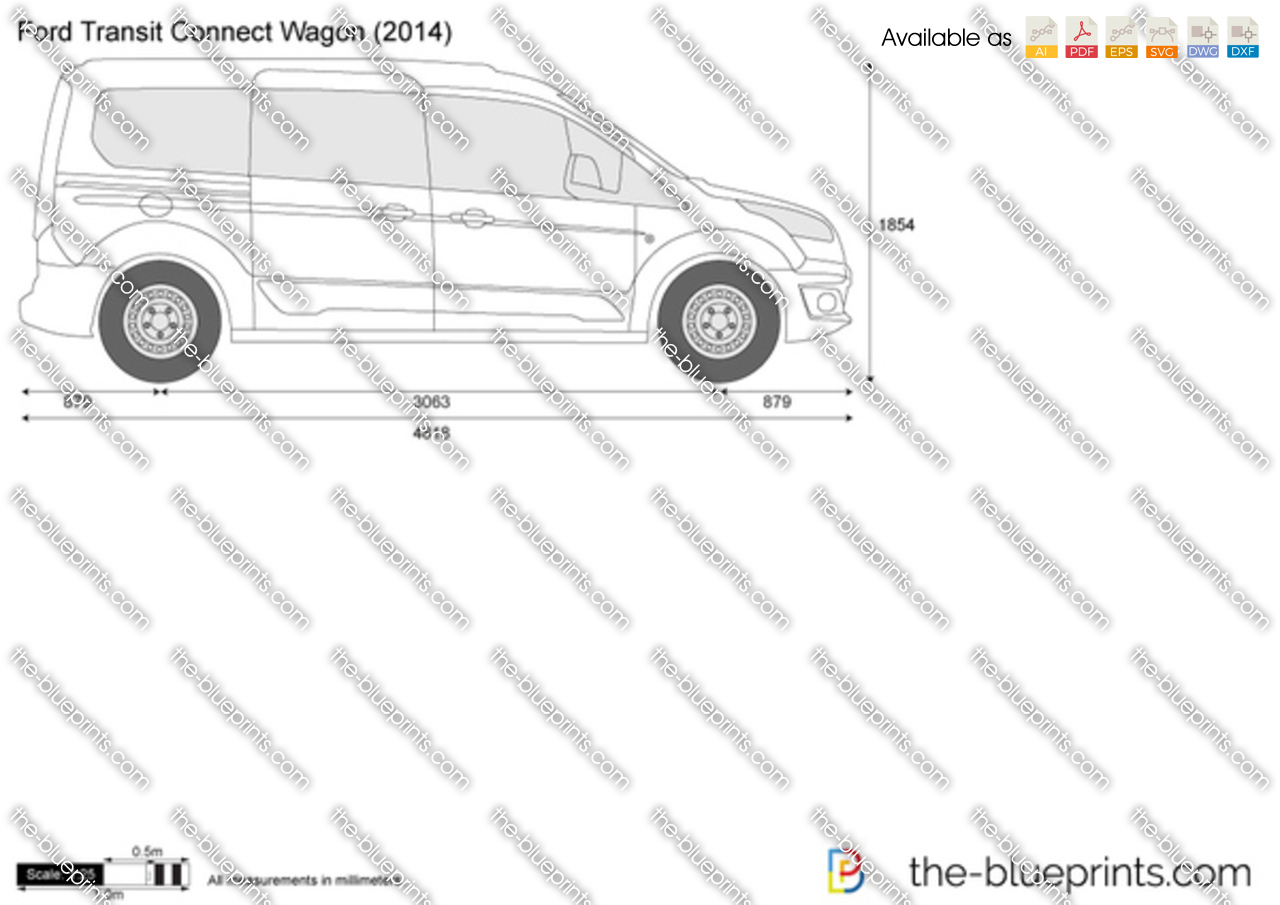 ford transit connect wagon vector drawing