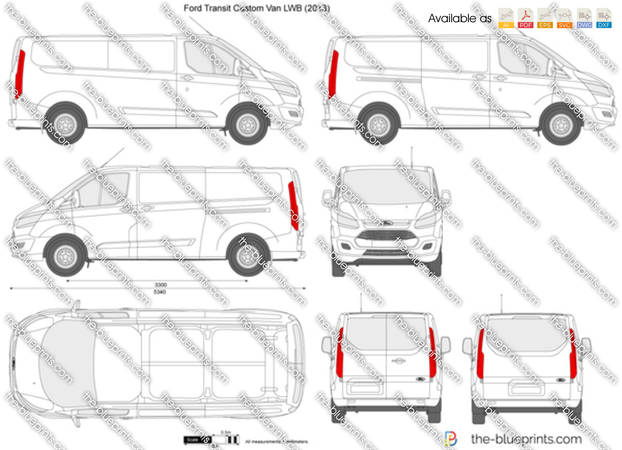 Ford transit custom lwb l2h1 vector drawing for Custom blueprints