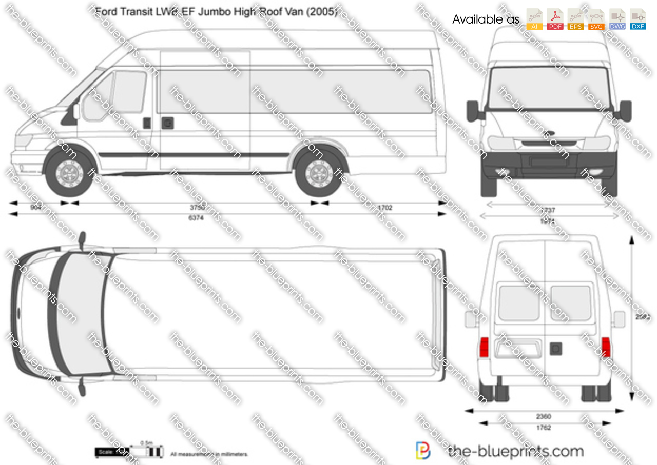 ford transit lwb ef jumbo high roof van vector drawing