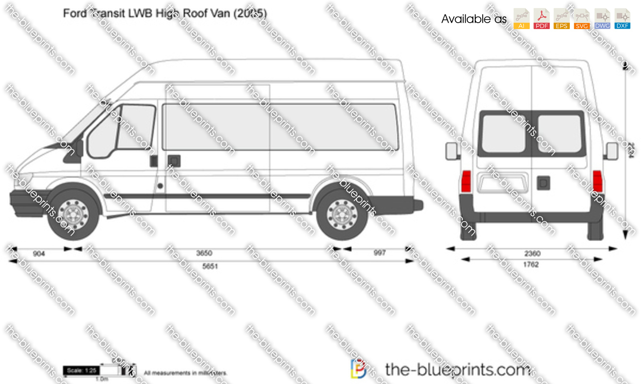 the vector drawing ford transit lwb high roof van. Black Bedroom Furniture Sets. Home Design Ideas