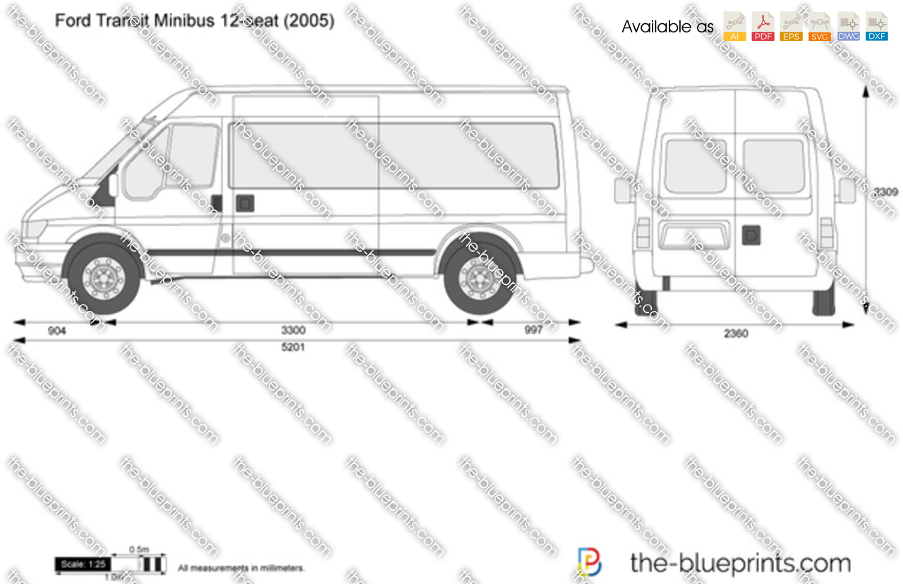 Ford Transit Extended >> Ford Transit Minibus 12-seat vector drawing