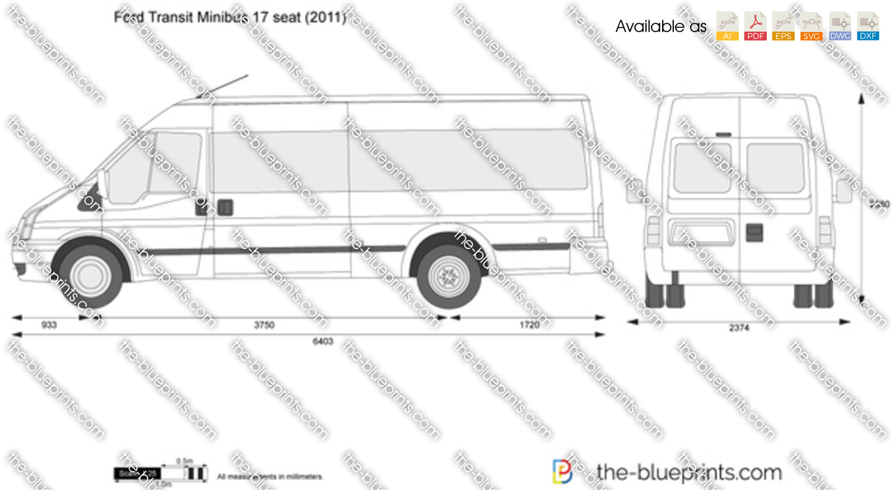 ford transit minibus 17 seat vector drawing