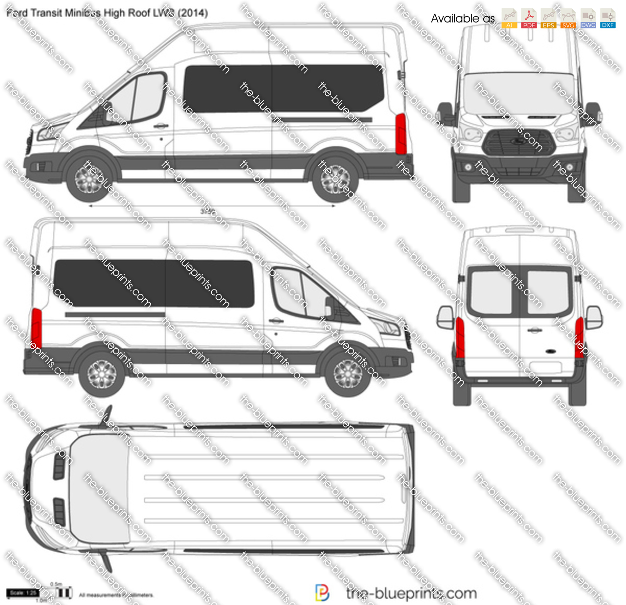 Ford Transit Minibus High Roof Lwb Vector Drawing