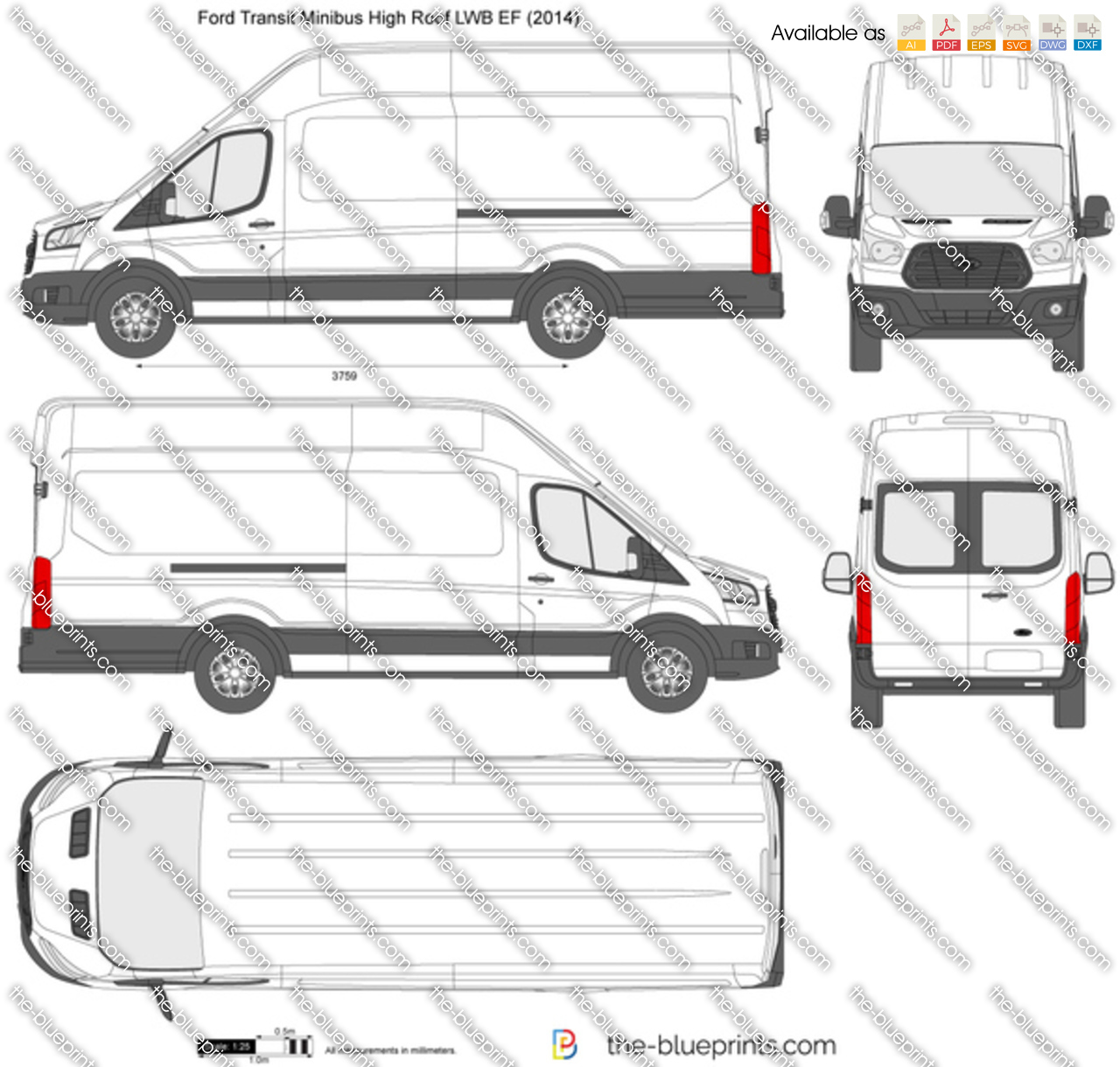 Ford Transit Minibus High Roof Lwb Ef Vector Drawing