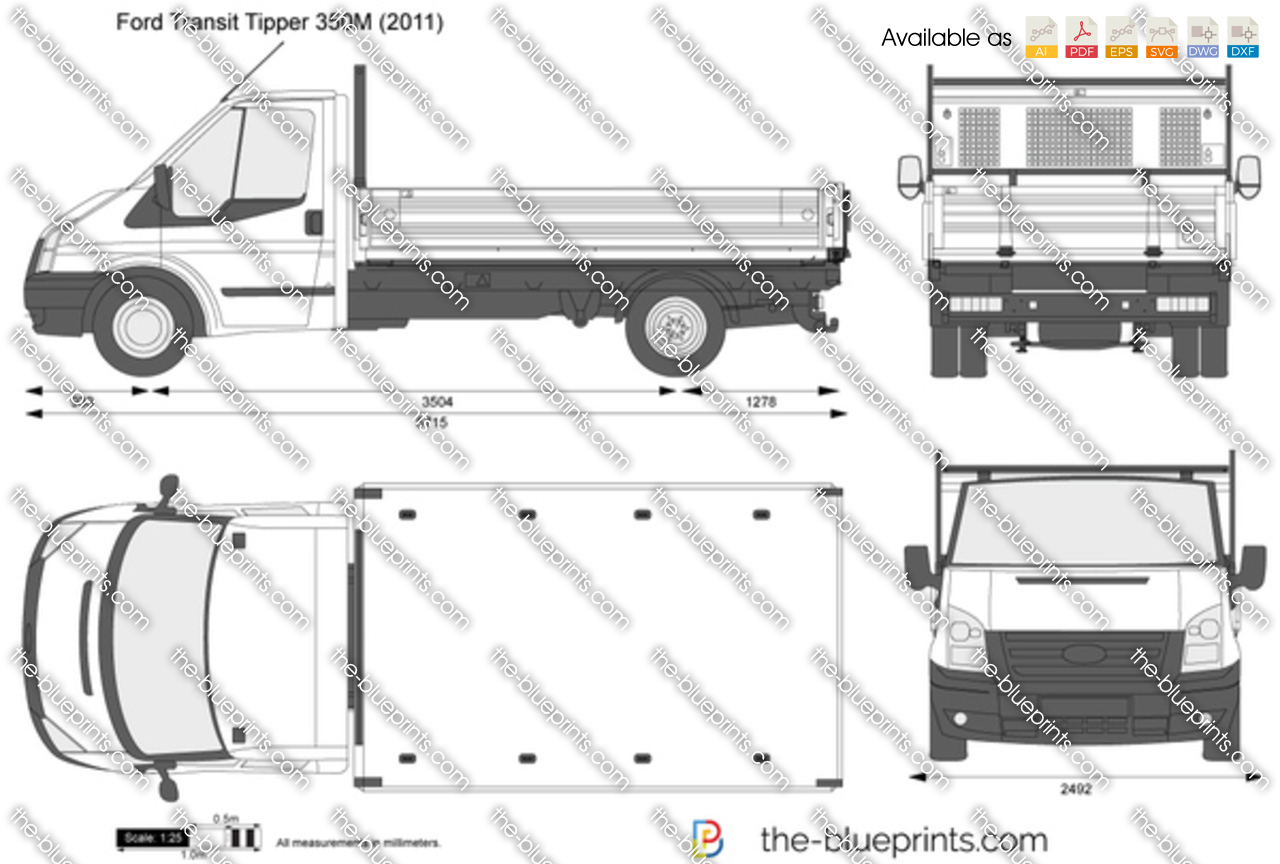 Transit Dropside Dimensions >> The-Blueprints.com - Vector Drawing - Ford Transit Tipper 350M