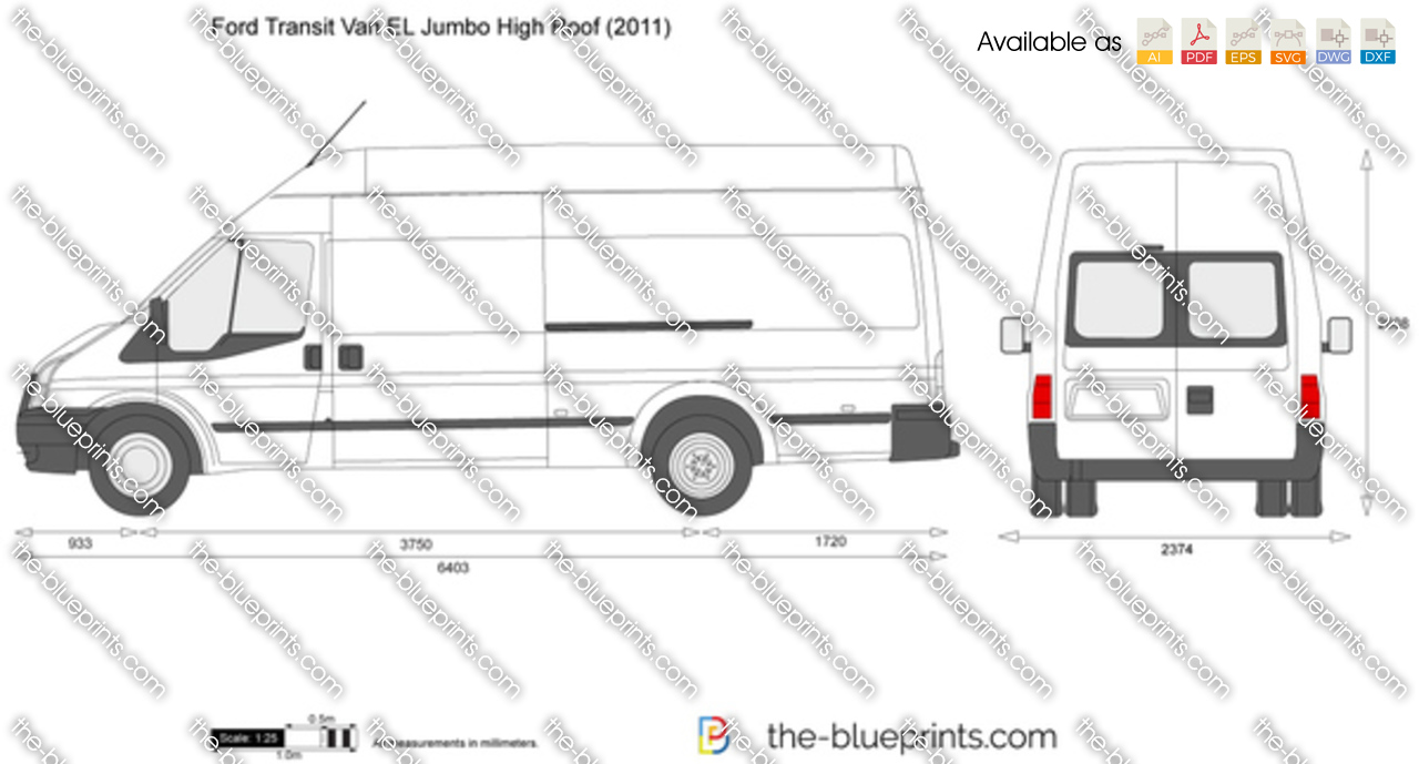 Ford Transit Van El Jumbo High Roof Vector Drawing