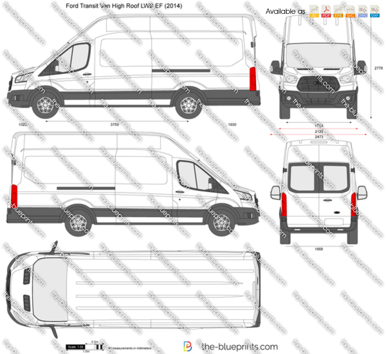 Ford Transit 2017 Wymiary >> Ford Transit Van High Roof LWB EF vector drawing
