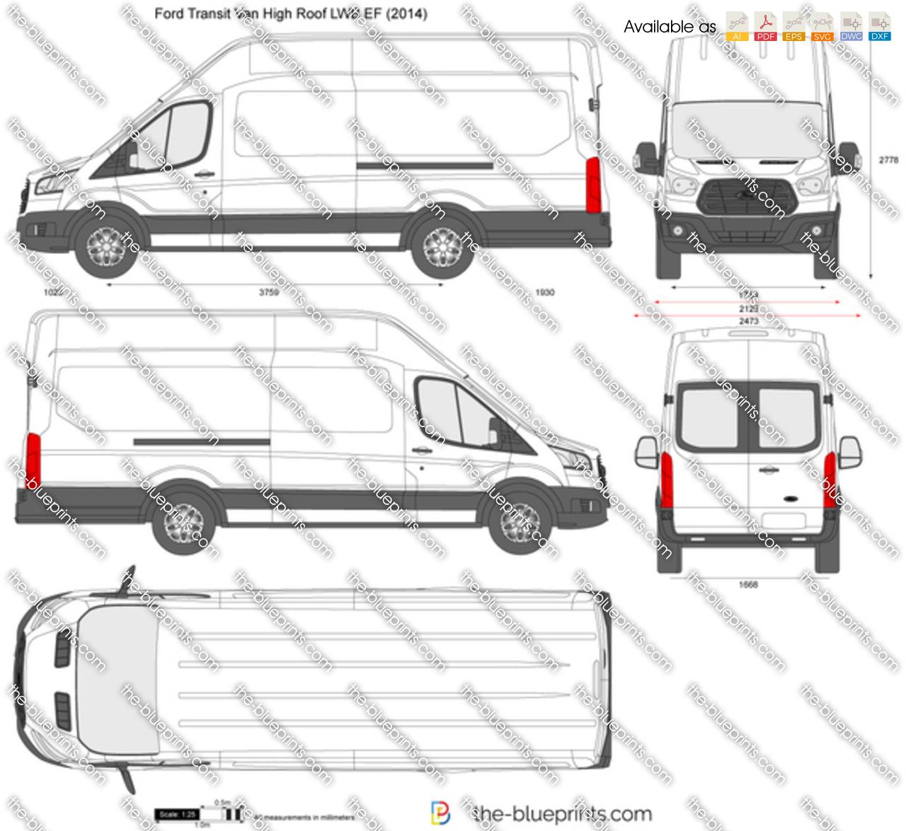 ford transit van high roof lwb ef vector drawing. Black Bedroom Furniture Sets. Home Design Ideas