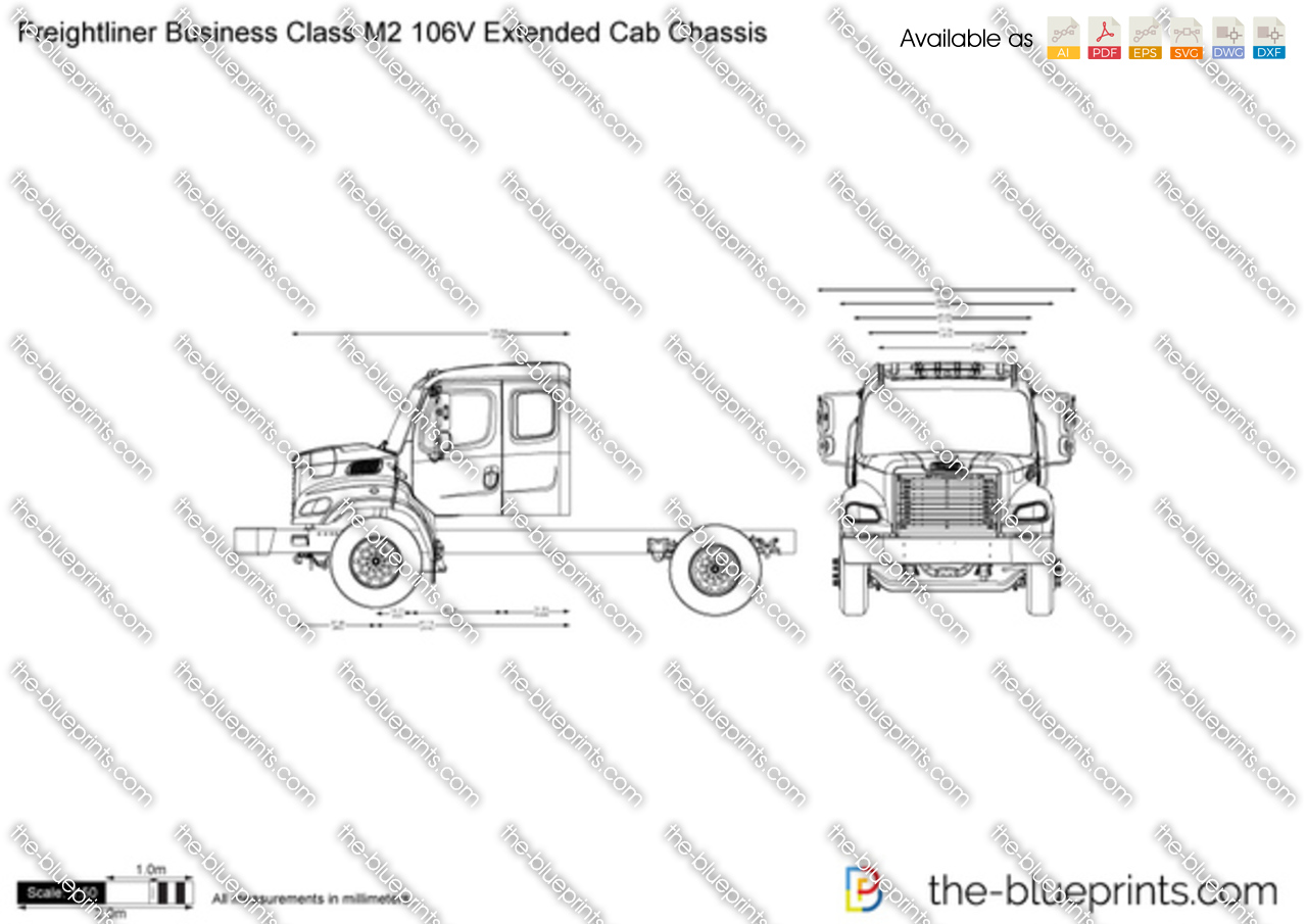 Freightliner Business Class M2 106V Extended Cab Chassis vector drawing