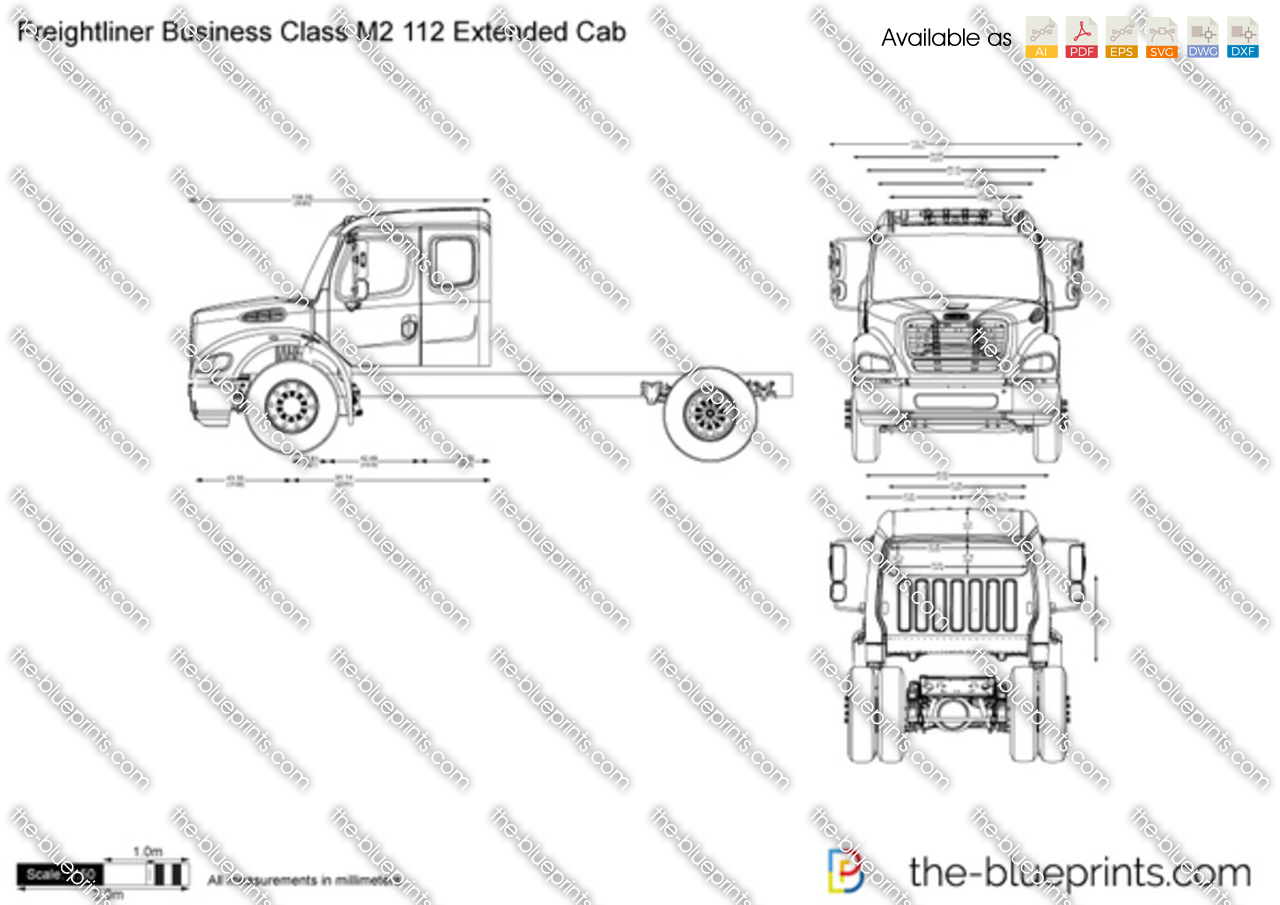 freightliner business class m2 112 extended cab vector drawing