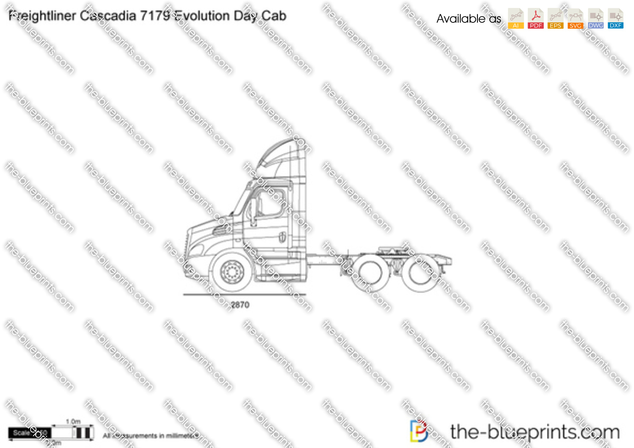 Freightliner Cascadia 7179 Evolution Day Cab vector drawing