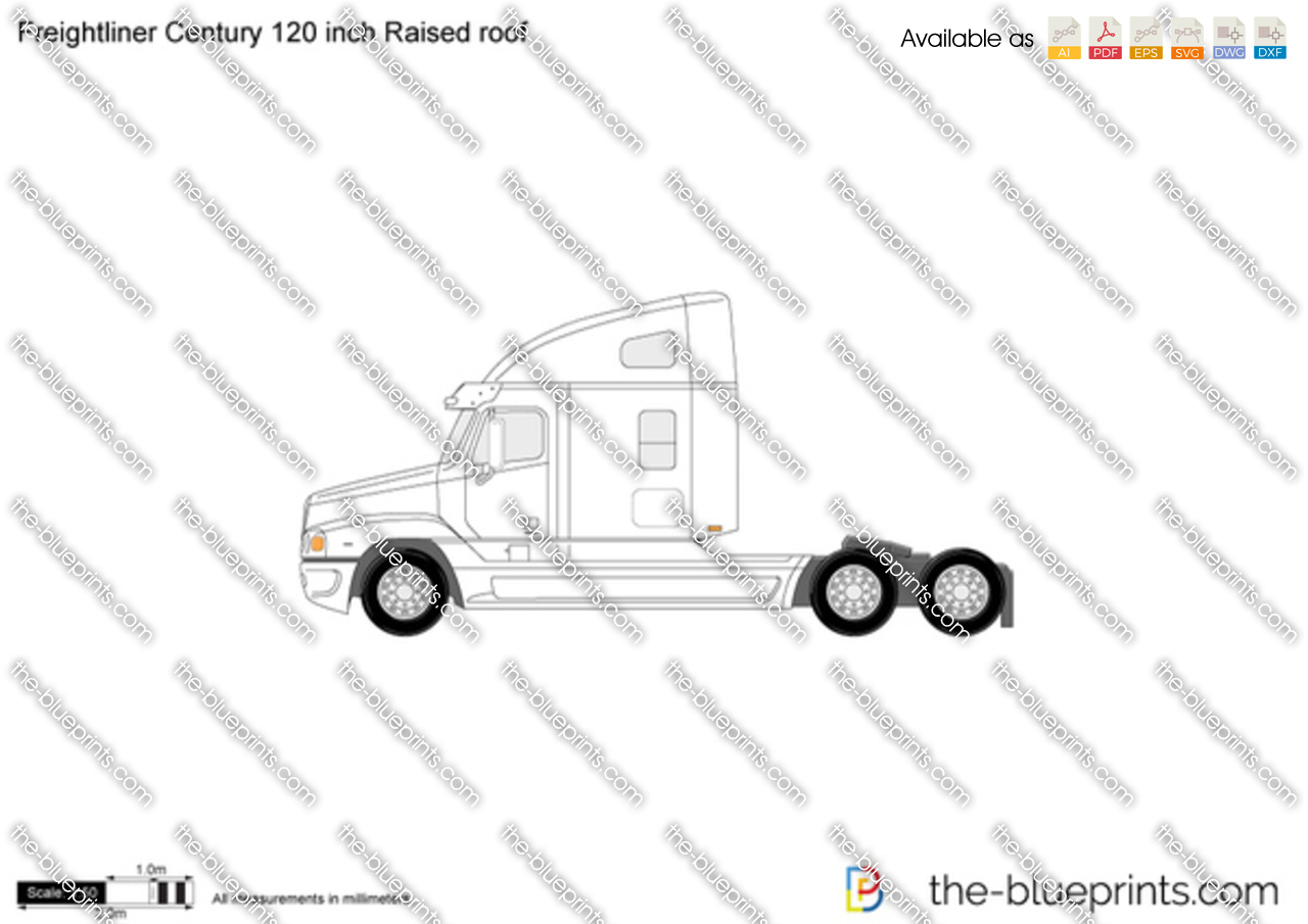 freightliner century 120 inch raised roof vector drawing
