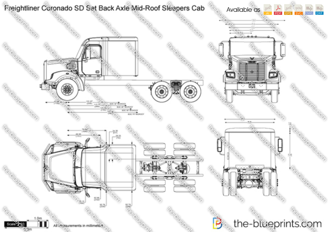 Freightliner coronado sd set back axle mid Roof sleepers cab on semi truck wiring diagrams