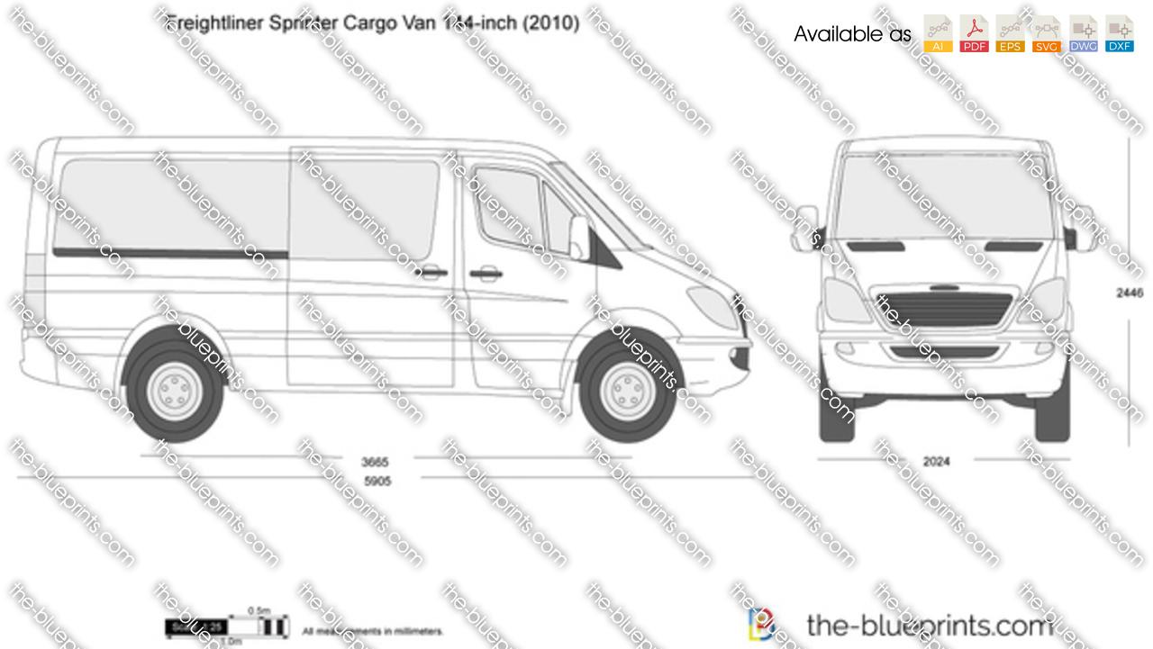 Freightliner Sprinter Cargo Van 144 Inch Vector Drawing White Ford Clip Art
