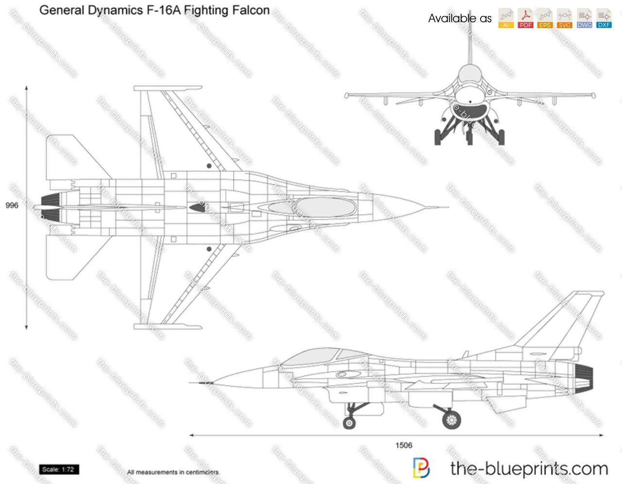 The-Blueprints.com - Vector Drawing - General Dynamics F-16A ...