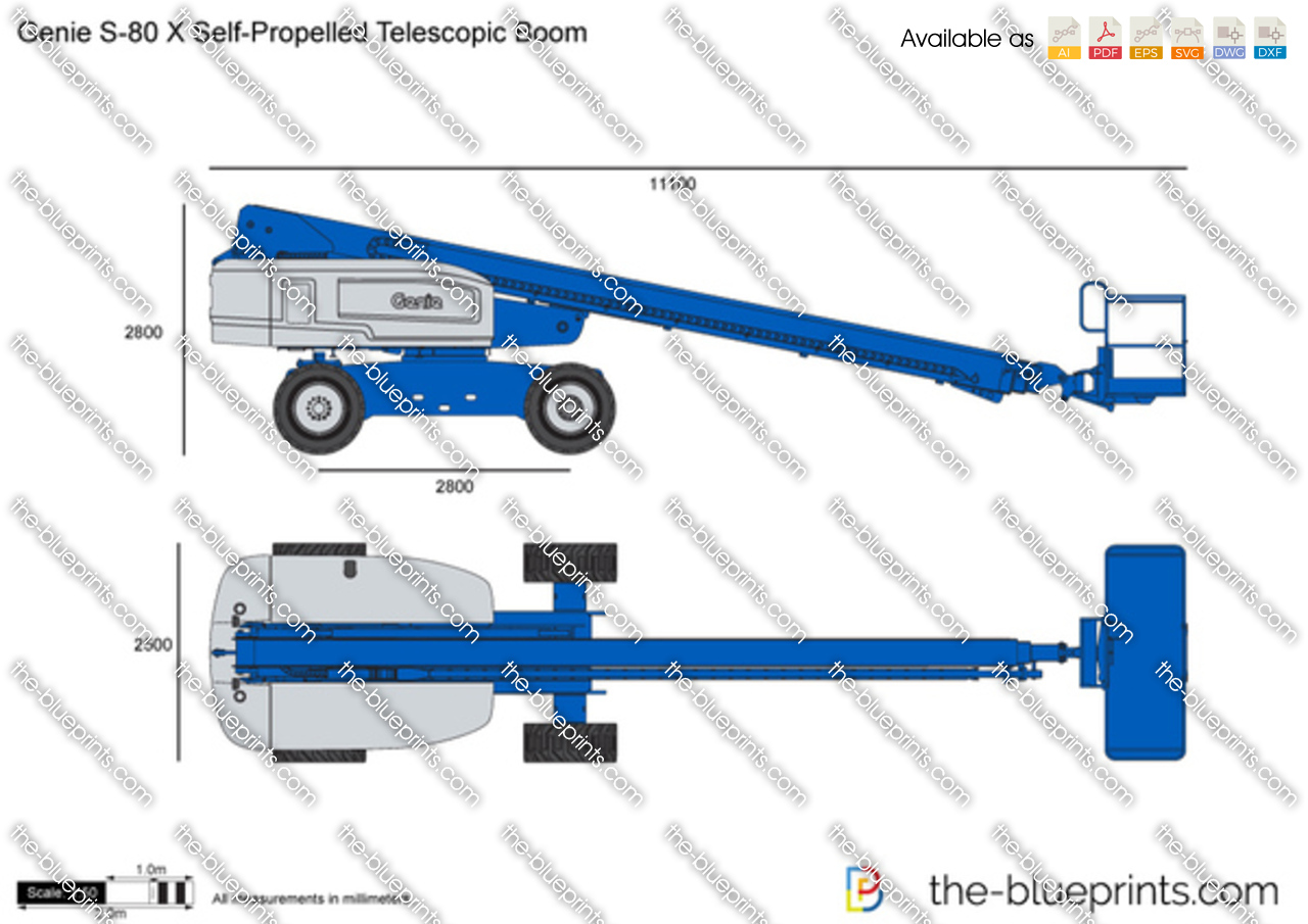 Genie S-80 X Self-Propelled Telescopic Boom vector drawing