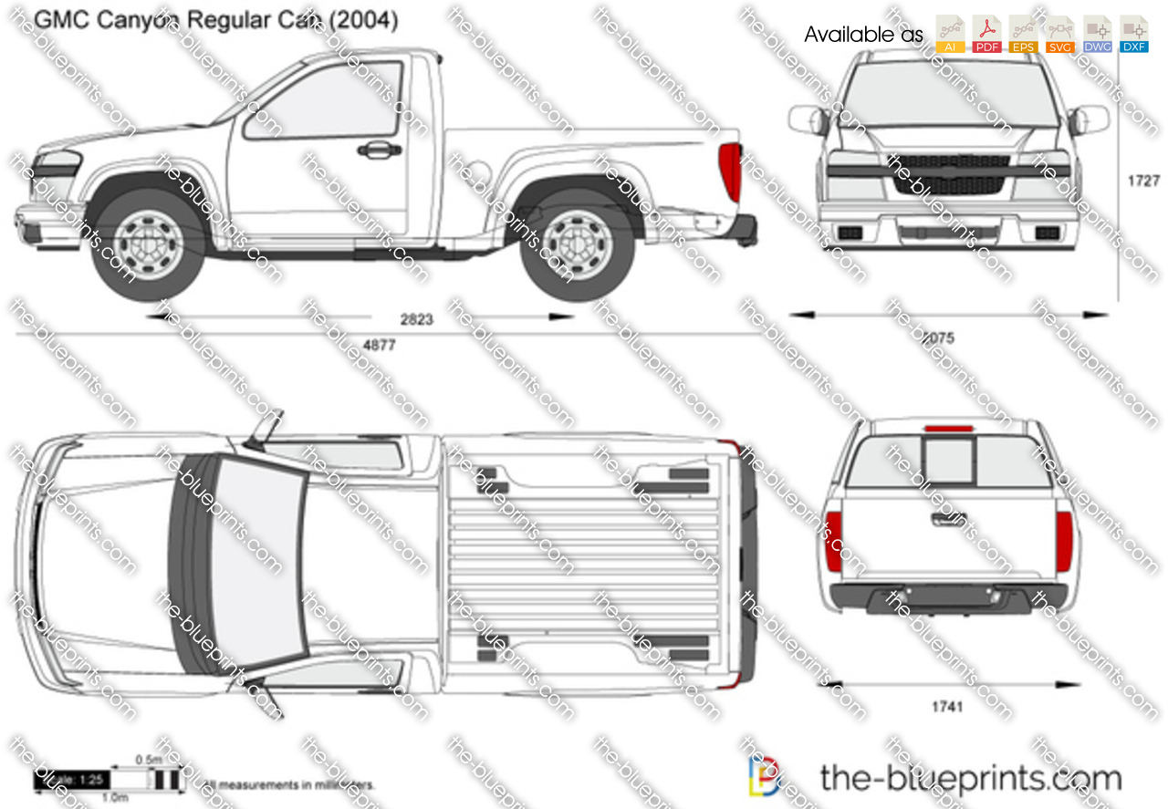 gmc canyon regular cab vector drawing. Black Bedroom Furniture Sets. Home Design Ideas