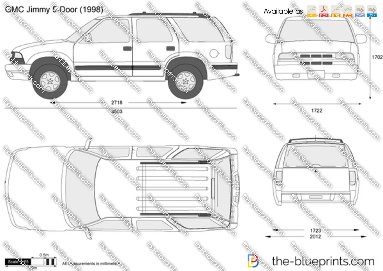 Gmc Jimmy 5 Door Vector Drawing